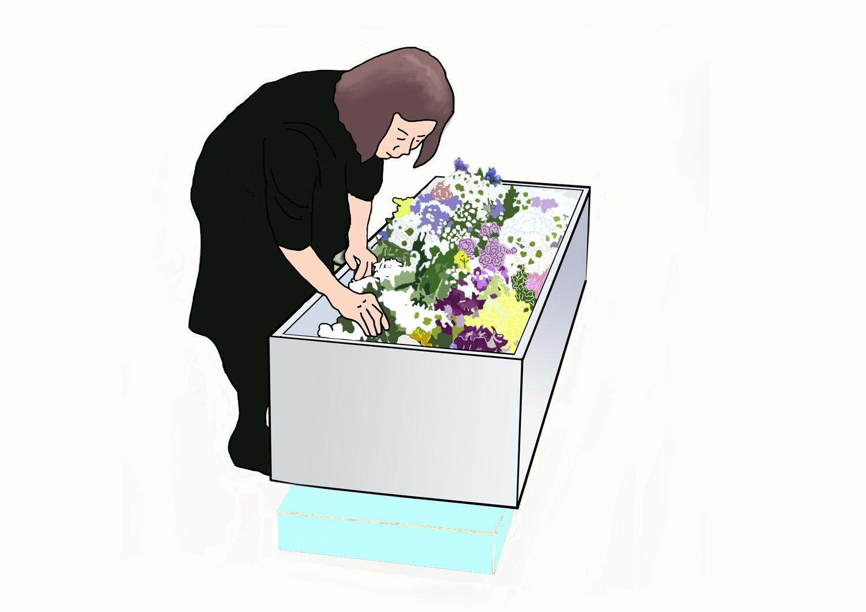棺を覗き込む女性